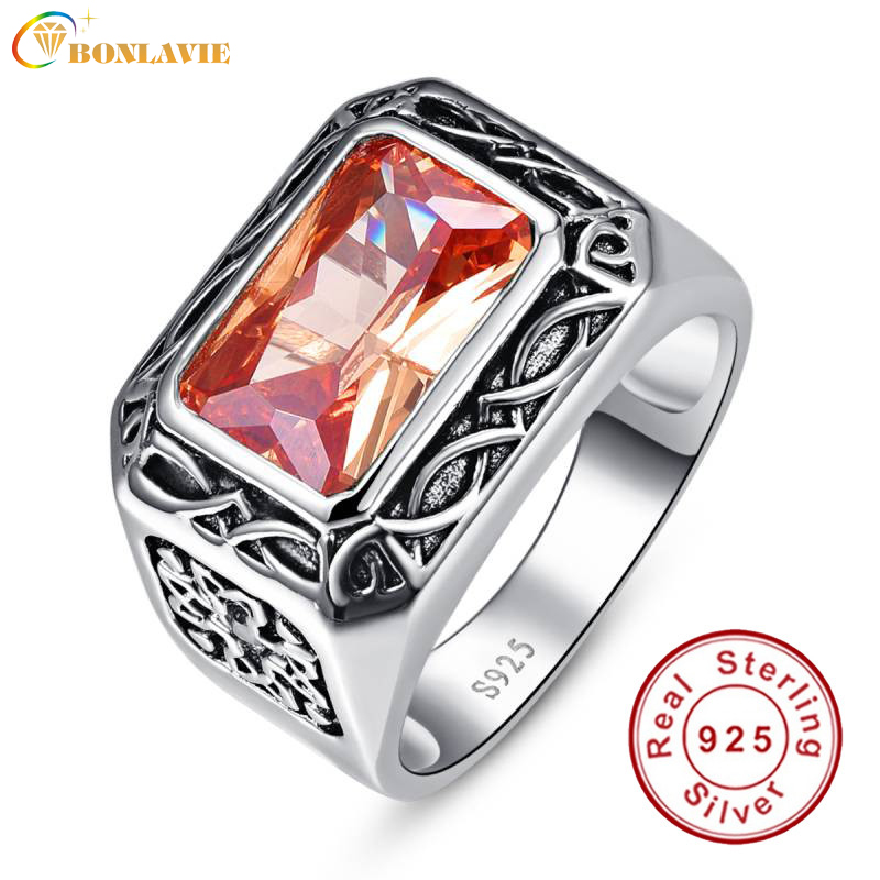 Vintage Men Silver Ring Jewelry 925 Sterling Silver Jewelry 6 75Ct Morganite Antique Square Rings For