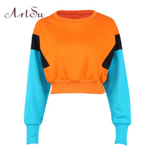 ArtSu Women Winter Hoodies and Sweatshirts Long Sleeve Women's Casual Patchwork Pullover Harajuku Kawaii Crop Hoodie ASHO20198