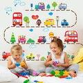 Animais coloridos Carros Caminhões Ônibus Adesivos de Parede Mural Decalques Crianças Playroom Decor SS