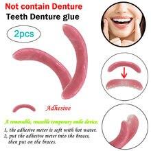New2pc sorriso temporário conforto ajuste cosméticos dentes dentadura cola para dentes superiores dentadura 2018