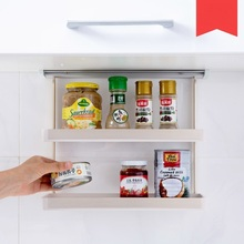 cabinets walled double shelves Seasoning storage racks kitchen Durable supplies Tableware Suction wall type save space
