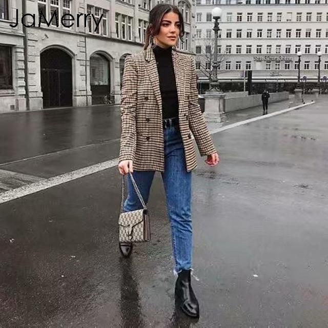 JaMerry Fashion double breasted plaid blazer women Long sleeve slim office ladies blazer 2018 Casual autumn jacket blazer female