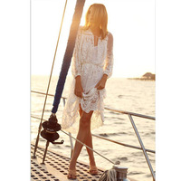Womens Dresses New Arrival 2019 Dress Large Size Clothing White Lace Dresses For Women Beach Wear Summer Ladys Dress Casual Plus