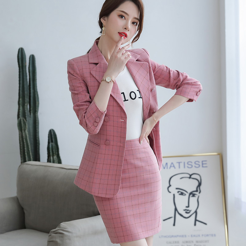 2019 Autumn Plaid pants sutis women slim fashion temperament professional long sleeve blazer and pants office ladies foraml work 2