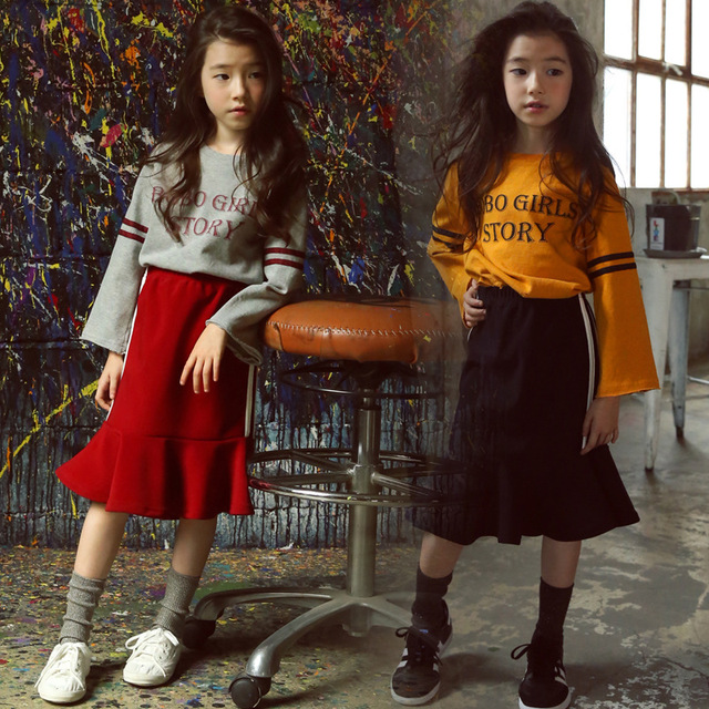 3b7719566 Children Autumn Suit New 2018 Girls Shirt + Hip Fishtail Skirt ...