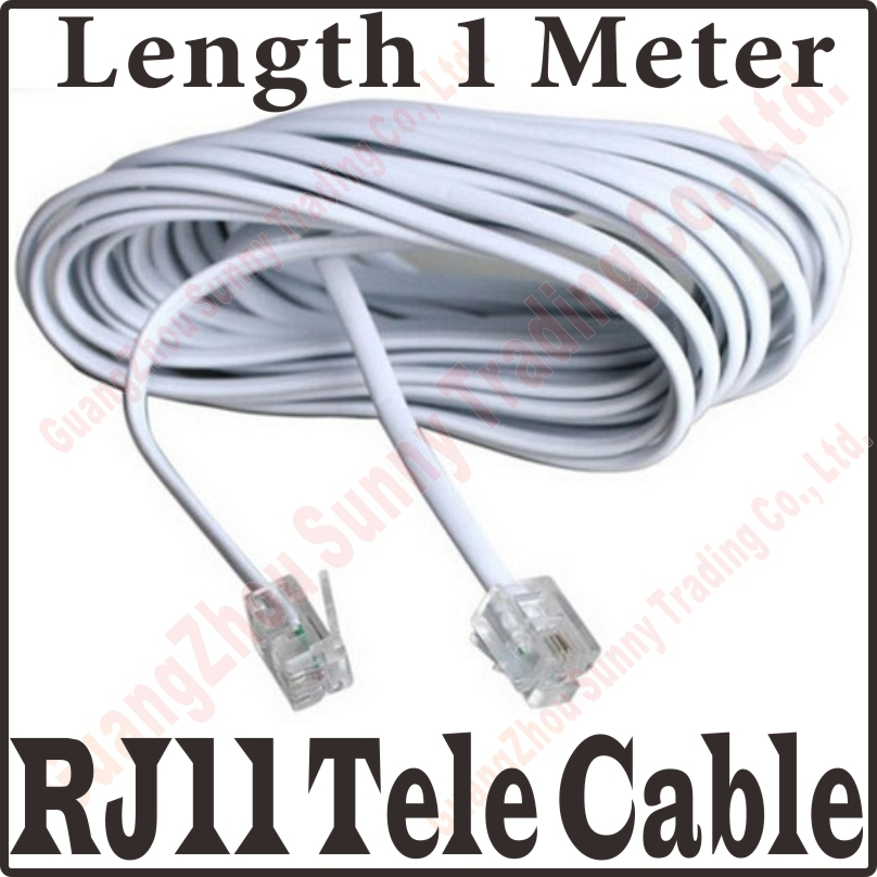 3FT 1M 2 Core RJ11 Copper Telephone Cable Wire With 6P2C Connectors ...