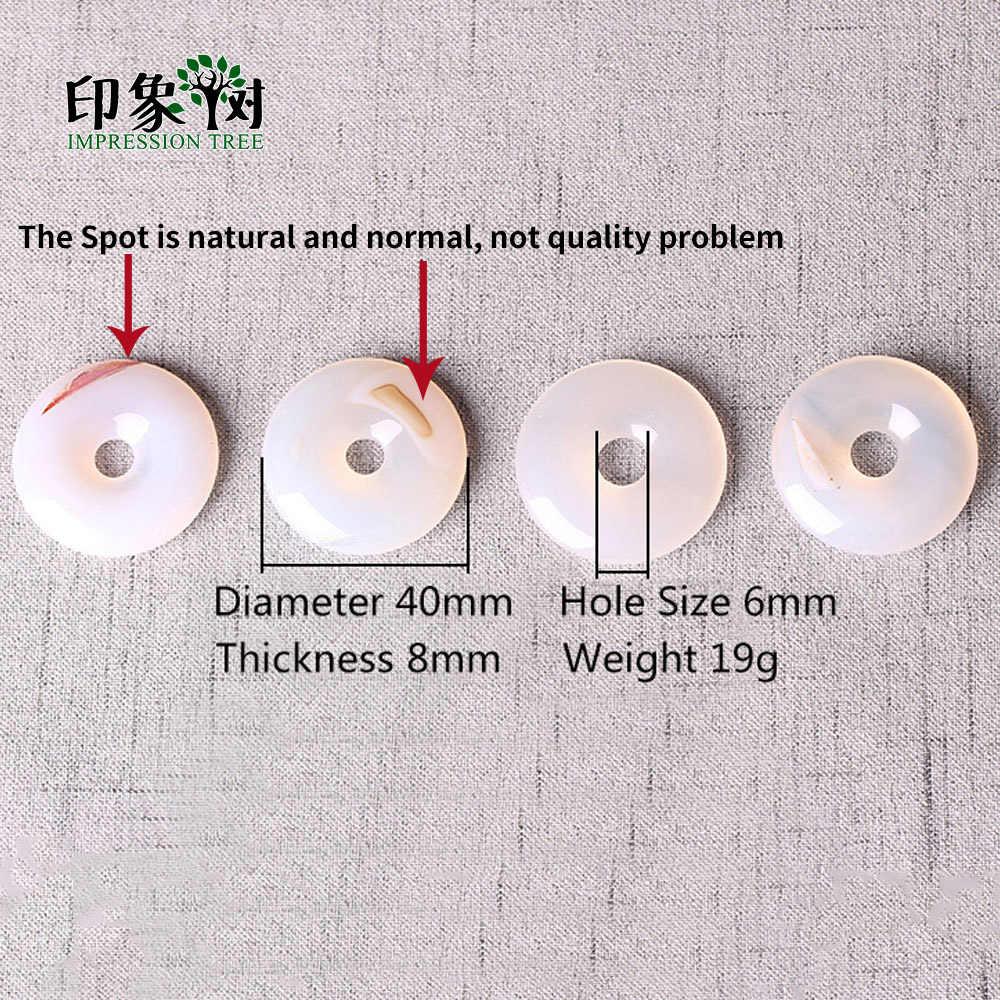 40/30 มม.Donuts Agates Charms จี้ลูกปัด Chalcedony ธรรมชาติวงกลมรอบหัวเข็มขัดสำหรับ DIY เครื่องประดับสร้อยข้อมือสร้อยคอ 2045