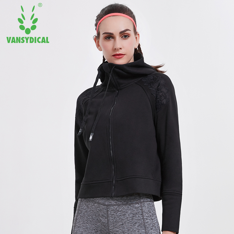 Vansydical Winter Sports Running Yoga Jackets Tops Women's Zipper Embroidery Fitness Workout Hooded Windproof Sportswear