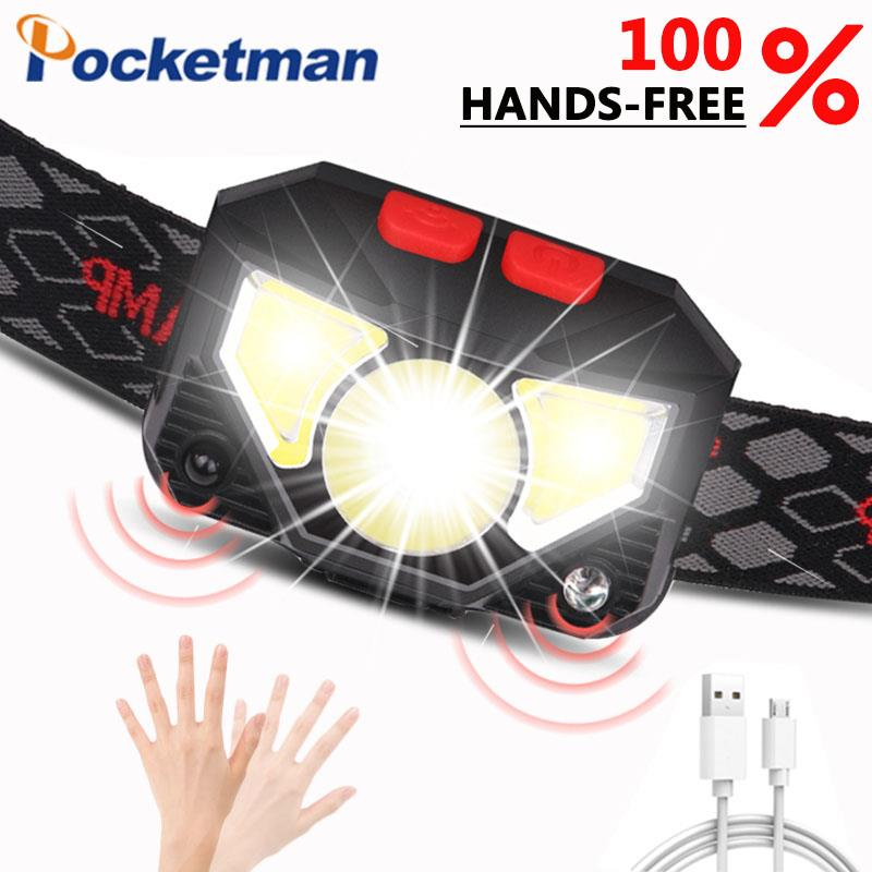 6000 Lumen LED Headlamp Motion Sensor Ultra Bright Hard Hat Head Lamp Powerful Headlight USB Rechargeable Waterproof Flashlight