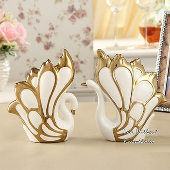 The sitting room decoration arts and crafts, Ceramic swan, Home Decorations,  Christmas present, wedding gift ,