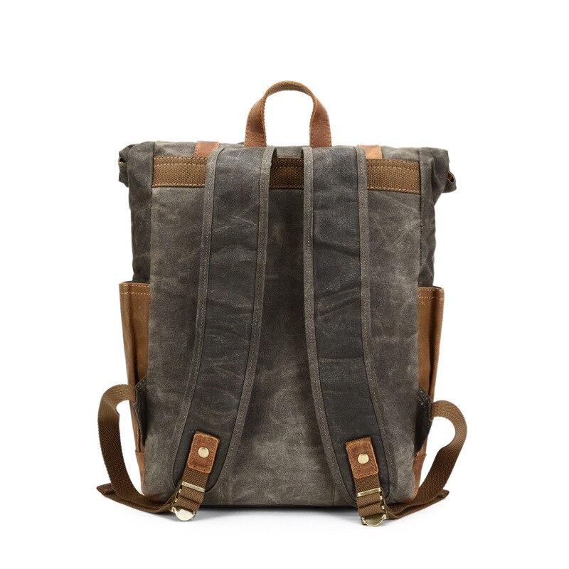 YUPINXUAN Vintage Oil Waxed Canvas Leather Backpack Large Capacity Teenager  Traveling Waterproof Daypacks 14