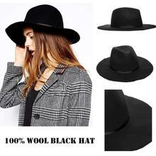 Винтажная зимняя шапка, шерсть, женские черные фетровые шляпы, Трилби, войлочная Панама, Женская кепка, размер 56-58 см, регулируется