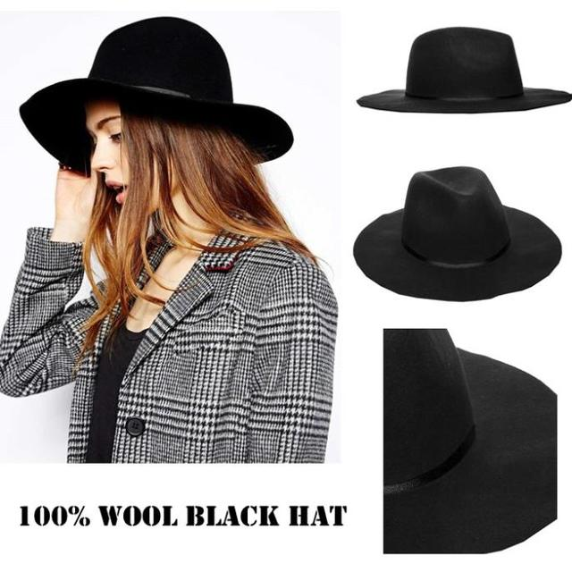 Vintage Winter Hat 100% Wool Women s Black Fedora hats Trilby felted Panama Ladies  Cap Size 56-58CM adjusted IN Stock 6dc8137db02b