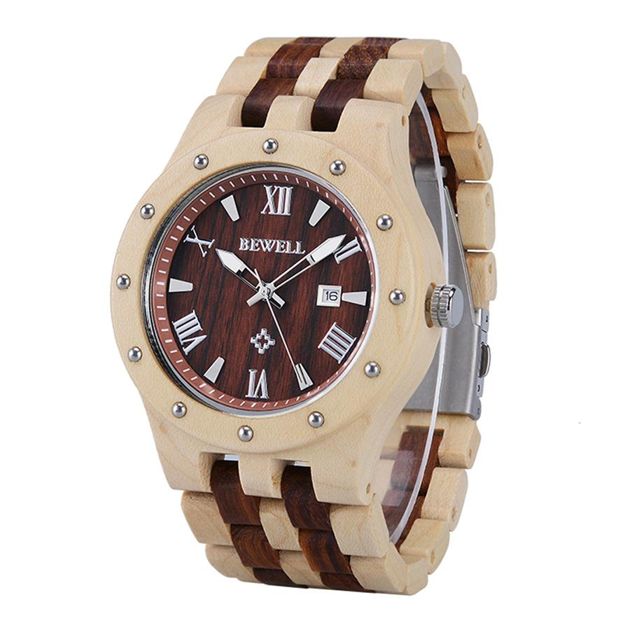 BEWELL Business Men Wooden Watch Round Dial Date Display Wristwatch Luminous Pointers Two-Tone Wood Strap Japanese Movement 109ABEWELL Business Men Wooden Watch Round Dial Date Display Wristwatch Luminous Pointers Two-Tone Wood Strap Japanese Movement 109A