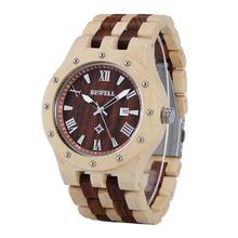 BEWELL Business  Luxury Brand Wooden Watch for Man Round Dial Date Display Wristwatch and Luminous Pointers Wood ZS-109A