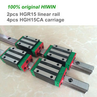2pcs 100% HIWIN linear guide rail HGR15 200 250 300mm with 4pcs of linear block carriage HGH15CA / HGW15CA CNC parts