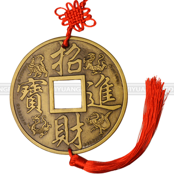 Chinese Knot The Vintage Lucky Fortune Wealth Fengshui Qing Copper Coins  Amulet of Good Luck Metal Pendant Home Decor Art 13cm