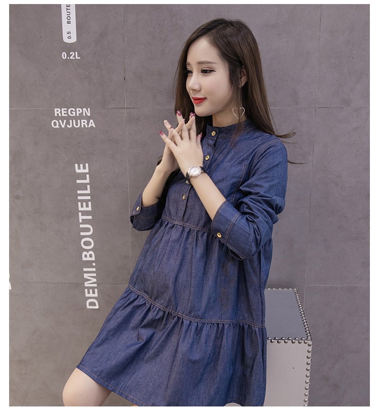 a7c9a893f25 Fdfklak Casual Denim Dresses for Pregnant Women Long Sleeve Spring Summer Dress  Pregnancy Clothes Jeans Maternity Dress -in Dresses from Mother   Kids on  ...
