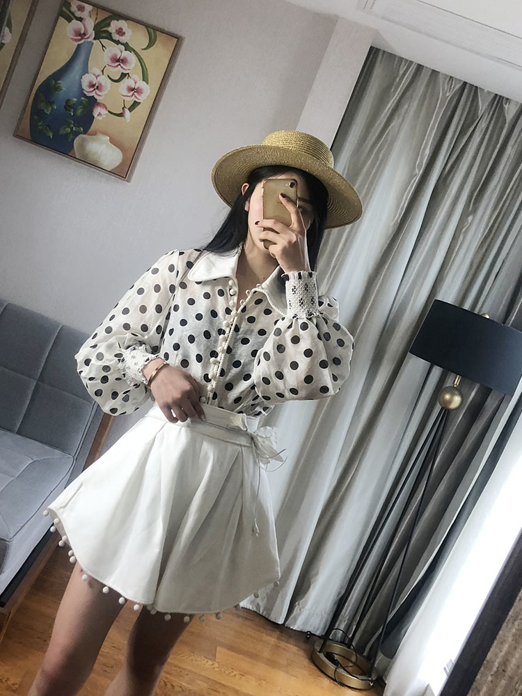 2019 Black White Wave Point Long Sleeve Shirt Woman vintage feminina boho ladies tops chiffon blouse blusas mujer bodycon in Blouses amp Shirts from Women 39 s Clothing