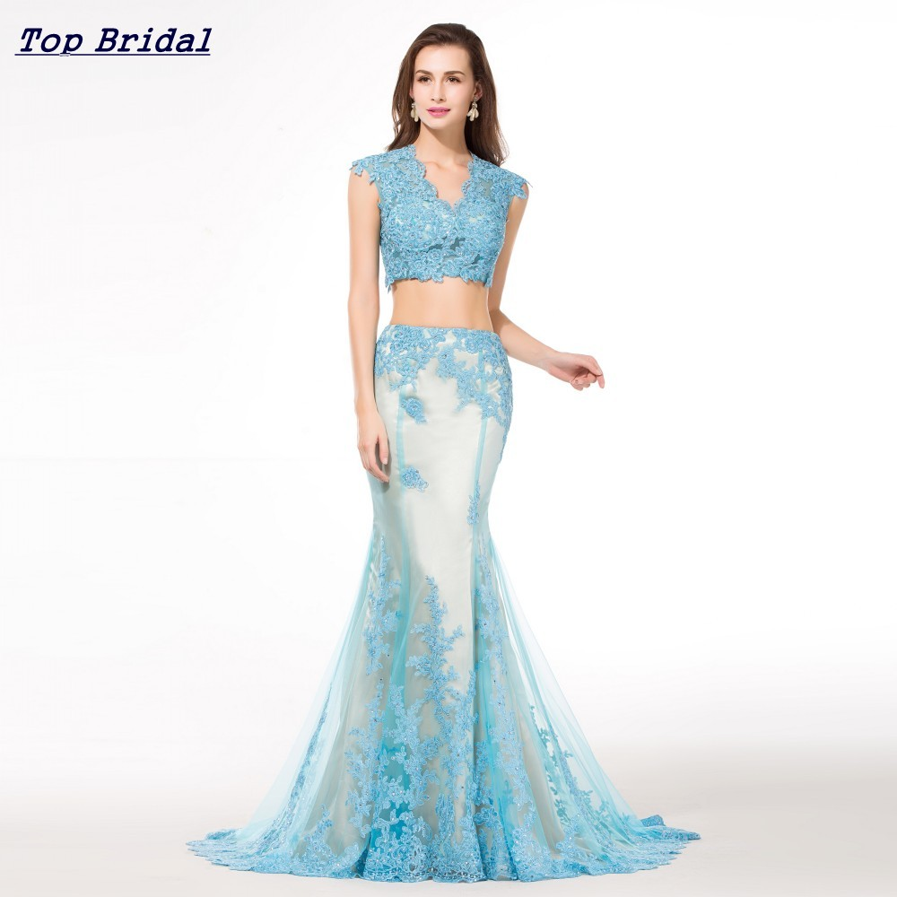 100 Real Pictures Light Blue Two Piece Prom Dresses Mermaid V Neck