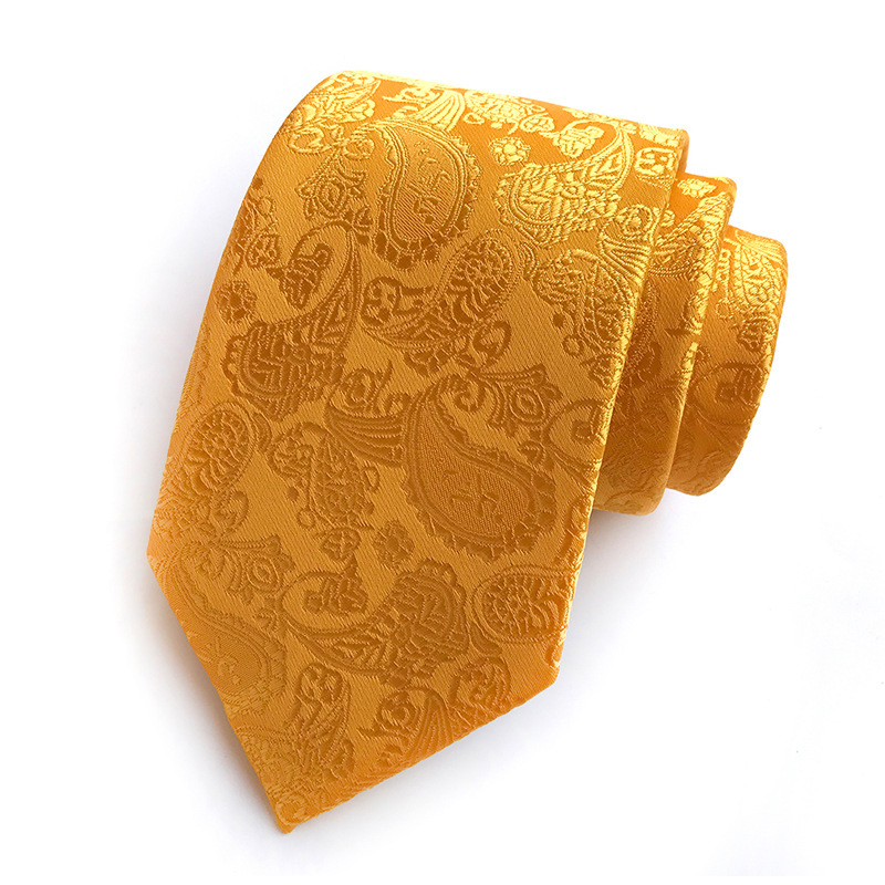 New Classic Paisley Gold JACQUARD WOVEN 100% Silk Men's Tie Necktie