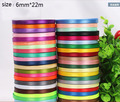 Wholesale 6mm 22 Meters Single Face Satin Ribbon Gift Packing Christmas Ribbons Wedding Party Decorative Crafts Ribbons 25 Yards