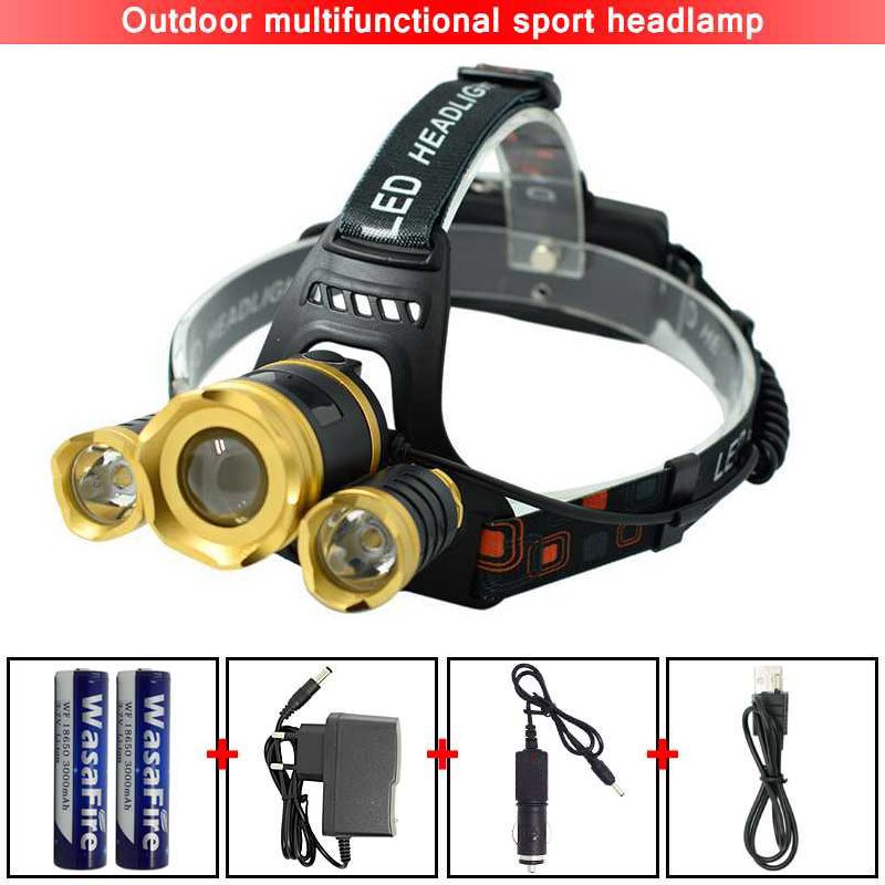 3 LED Headlight Powerful Head Lamp Rechargeable T6 LED Headlamp 4 Modes Zoomable Head Light for Cycling Fishing Camping Running
