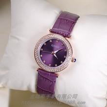 Marca de Relojes de Pulsera de Cuarzo Impermeable de Los Relojes Relojes de Las Mujeres del Cuero Genuino Sunray Dial Diamante Reloj de Los Trabajadores de Cuello Blanco