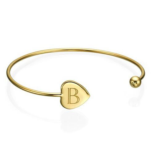 Stainless Steel Jewelry Manufacturer Whole Gold Heart Engraved Initial Cuff Bracelet