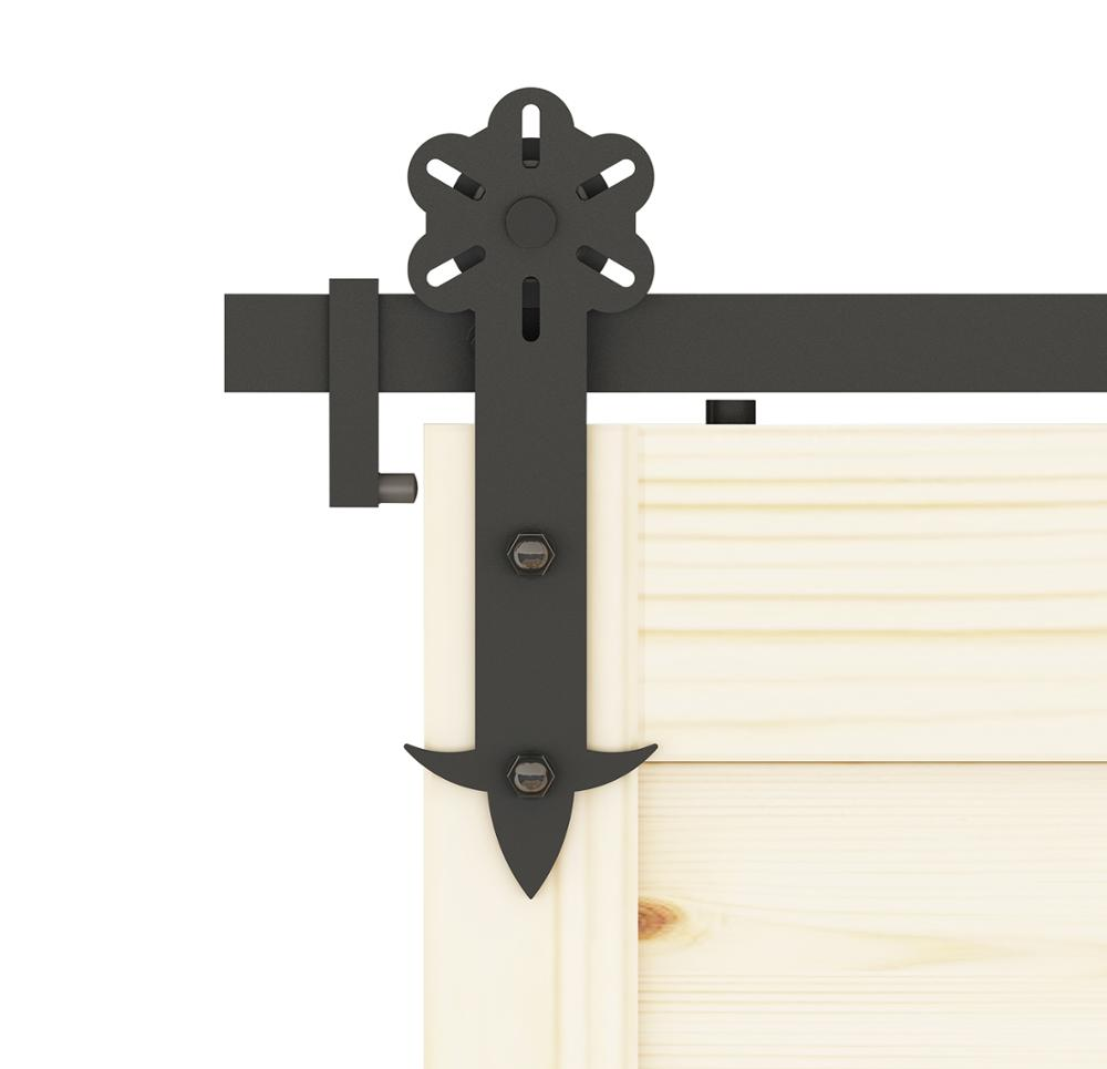 DIYHD Flower Cut Roller Black Iron Sliding Barn Door Hardware,5FT-8FT Sliding Track,Black