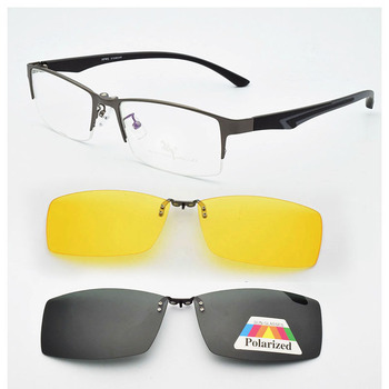 Spectacle Frame and Half Box Male Myopia Prescription Lens  With A Magnet Clip Polarized Sunglasses Lens Sunglasses Soft  legs frame free glasses frame with magnet clip film myopia gray glasses lens rimless frame men and omen sunglasses frame no border