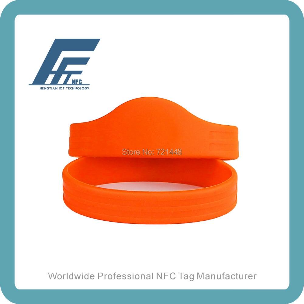 NTAG213 RFID Silicone Wristbands Orange Wristbands NFC Silicone Wristbands 100PCS