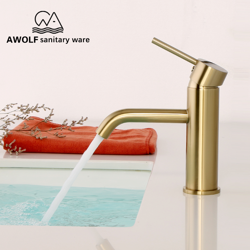Bathroom Basin Faucet Brushed Gold Solid Brass Wash Mixer Water Tap Modren Sink Faucet Hot Cold