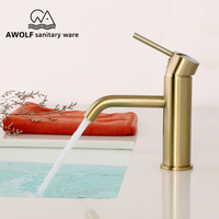 Bathroom Basin Faucet Brushed Gold Solid Brass Wash Mixer Water Tap Modren Sink Faucet Hot Cold Switch Single Hole ML8025