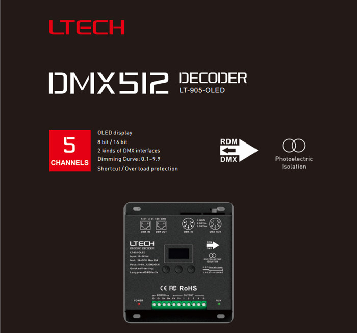 New LTECH LT-905-OLED LED RGB DMX512 Decoder Controller DC12-24V Input 5A*5CH Max 25A 600W Output RGB/RGBW XLR-3/RJ45 Connection dmx512 digital display 24ch dmx address controller dc5v 24v each ch max 3a 8 groups rgb controller