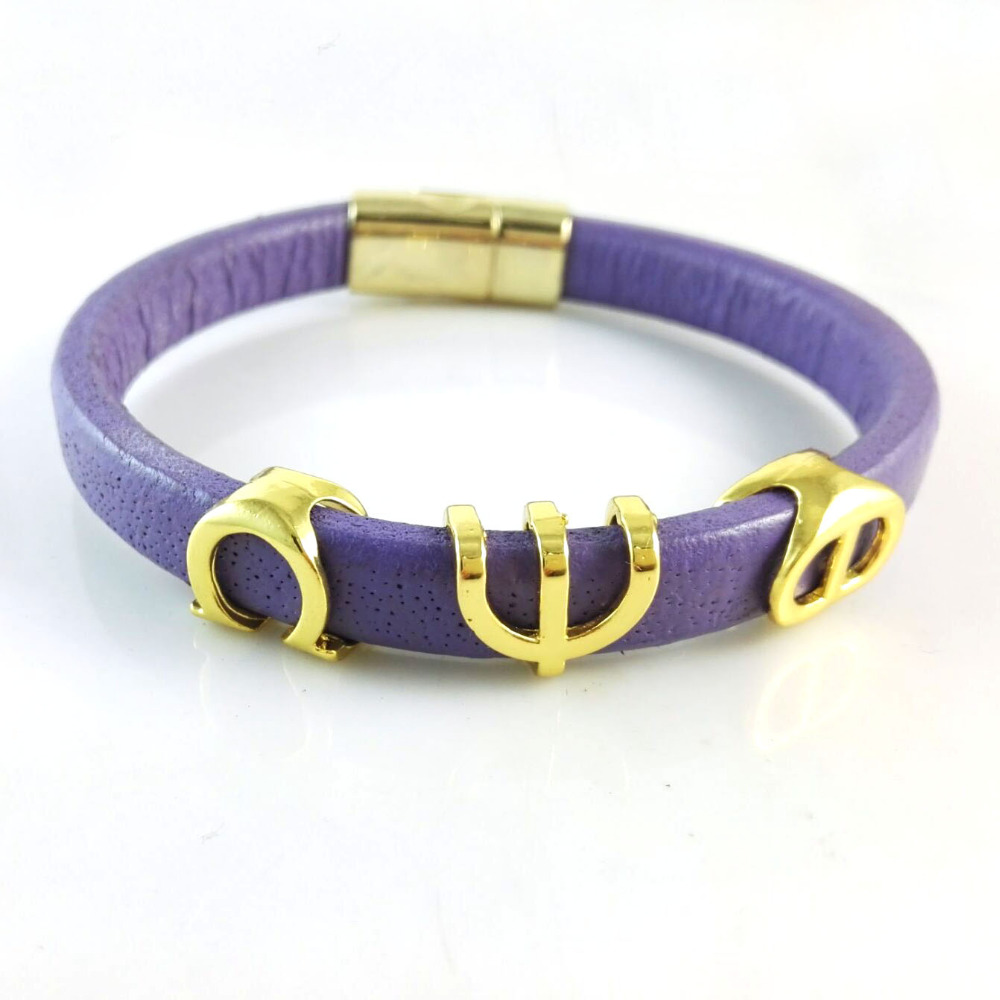 Omeg  Psi Phi Fraternity  leather  handmade bracelet bangle
