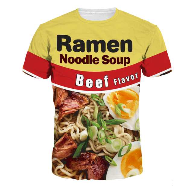 78bdd6fc6 Yellow Sporting Tops 3D Ramen Noodle Soup Printed New Fashion T shirts  Short Sleeve Quick-