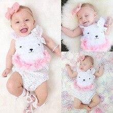 pakaian bayi Bayi serbuk putih beruang kapas jumpsuit Segitiga Siam Romper Siam Romper Cute pakaian Hari Lahir mesti mempunyai