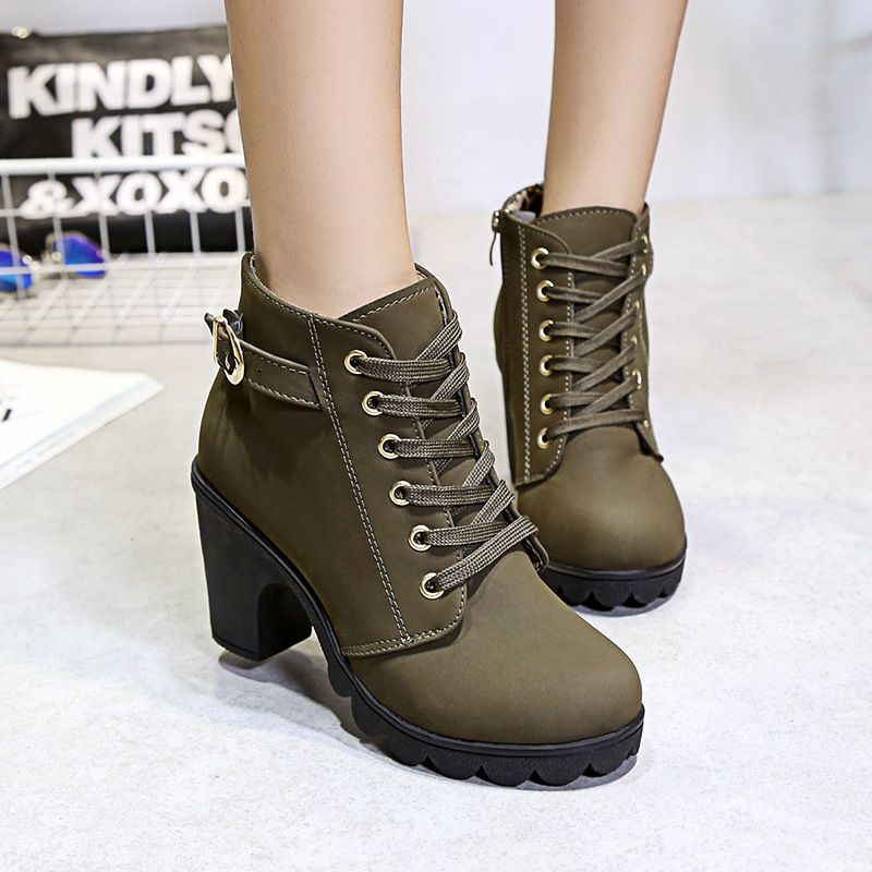 Autumn winter women new plus velvet short boots thick heels wild black matte female korean OL Martin boots 4 colors shoes martin new winter with thick british style short canister female fall side zipper boots