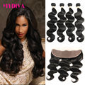 8A Brazilian Virgin Hair With Closure Body Wave 13x4 Full Lace Frontal Closure With Bundles Ms lula Hair With Frontal And Bundle