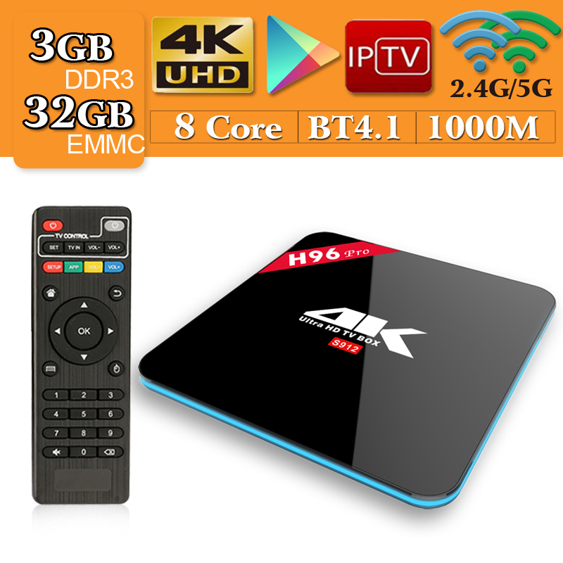 H96 Pro TV Box Amlogic S912 3GB 32GB Octa Core Android 7.1 OS BT 4.1 2.4GHz+5.0GHz WiFi Mini PC Media Player Smart Set Top Box h96 pro tv box amlogic s912 3gb 32gb octa core android 7 1 os bt 4 1 2 4ghz 5 0ghz wifi mini pc media player smart set top box