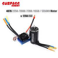 2pcs/set 4076 2250KV 2000KV 1700KV 1350KV Sensorless Brushless Motor 120A ESC Combo Set for 1/8 RC Car Truck