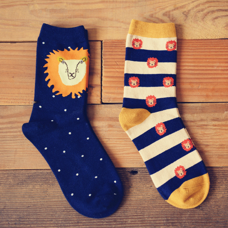 Fashion Korean version of the creative big lion women/men cotton socks striped lion Harajuku fun novelty funny socks Skarpetki