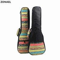 ZONAEL 21 23 26 Inch Ukulele Bag Backpack Shoulder Gig Bag Folk Style Ukelele Case Guitar