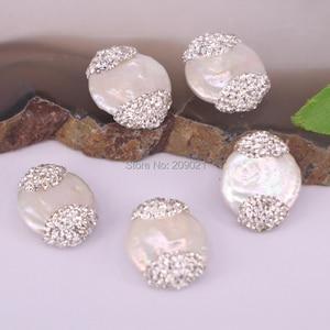 Image 3 - Connecteur de charme pour femmes, 10 pièces, rouleau de strass deau douce, perles amples, fabrication de bijoux