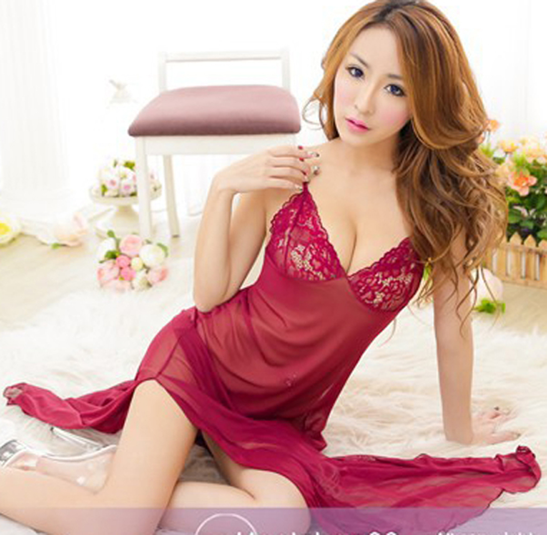 <font><b>2018</b></font> <font><b>Sexy</b></font> <font><b>Lingerie</b></font> Lady Lace Babydoll See-through Sleepwear Nightwear Long Dress Exotic Apparel image