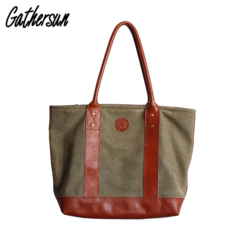 Women Canvas Leather Bag with Zip Handmade Vintage Top-handle Bags Ladies Shoulder Bag Retro Canvas Tote Bag for Women Handbags
