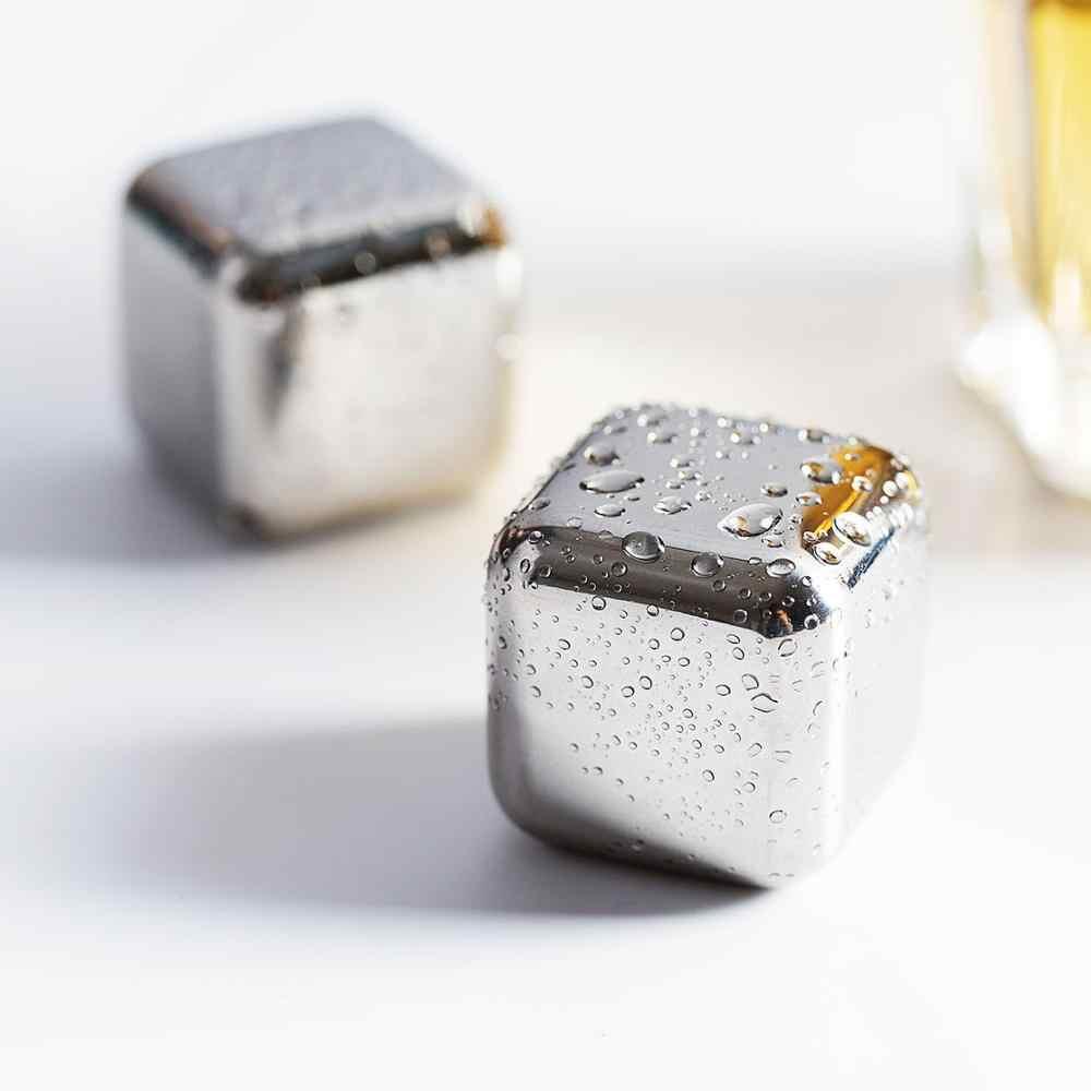 7 unids/set enfriador de cerveza de vino de acero inoxidable whisky piedras de refrigeración de vino reutilizables enfriadores de cubos de hielo Barra de cubo accesorios KTV