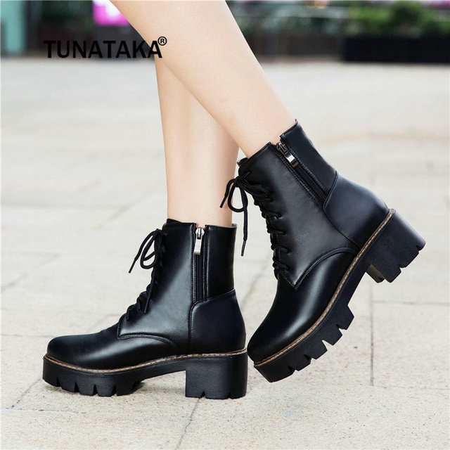 8978cb33949 US $52.72 |Women's Thick High Heel Ankle Boots Platform Side Zipper Lace Up  Winter Combat Boots Black White Beige Brown-in Ankle Boots from Shoes on ...
