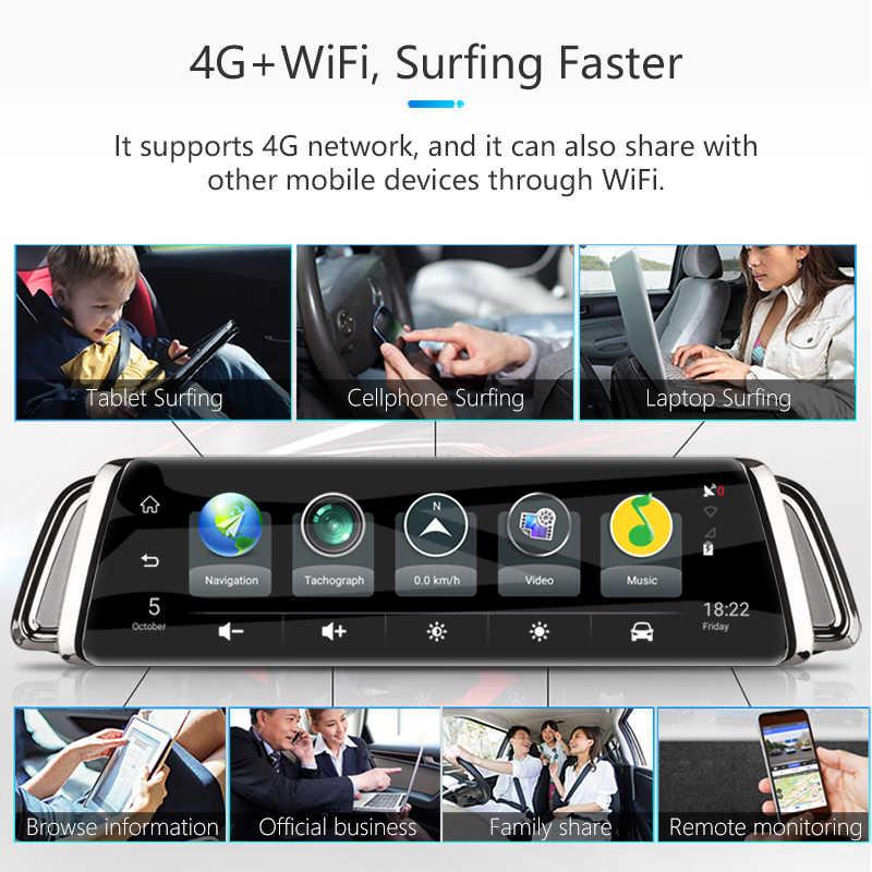 """Jansite 10 """"Pantalla táctil 4G WIFI inteligente para coche con DVR Android medios espejo lente doble imagen navegación GPS ADAS cámara de salpicadero"""